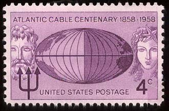 Transatlantic telegraph cable - A U.S. postage stamp issued to commemorate the Atlantic cable centenary