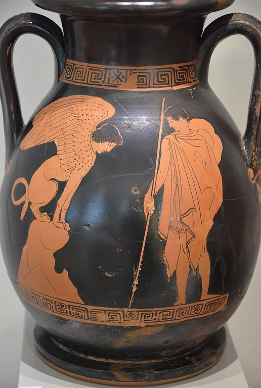 File Attic Red Figure Pelike Oedipus Solves The Riddle Of
