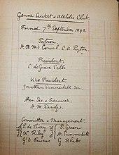 L'atto di fondazione del Genoa Cricket and Athletic Club, datato 7 settembre 1893 e conservato nel Genoa Museum and Store