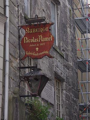 Rue de Montmorency - Auberge Nicolas Flamel, the oldest stone house in Paris, at 52 rue de Montmorency