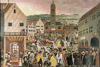 Augsburg - Perlach market place in 1550.