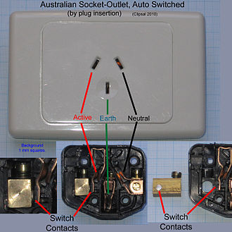 AS/NZS 3112 - Australian socket-outlet, auto switched by plug insertion. Automatically switched socket-outlets such as these may be used to supply power to refrigerators, some computers and other accessories that normally should not be switched off. The absence of a switch prevents the accidental switching off of such devices