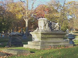 Lowell Cemetery - Ayer Lion, resting place of Dr. James Cook Ayer, patent medicine tycoon.