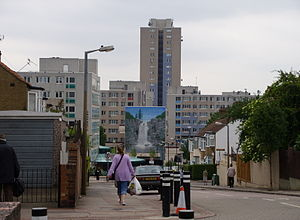 Housing estate - Broadwater Farm Estate in London. Poor housing there led to unrest in 1985 that left two dead.