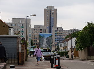Housing estate - Broadwater Farm Estate in London. Civil unrest in 1985 left two dead.