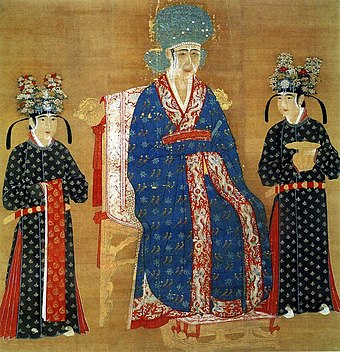 Chinese Empress Cao, wife of Emperor Renzong of Song. B Song Dynasty Cao Empress Sitting with Maids.JPG