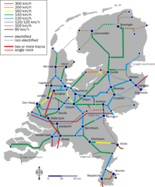 Rail map of the Netherlands