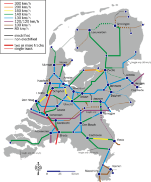 Rail transport in the Netherlands - Maximum speeds, electrification and track doubling per rail section (2007)
