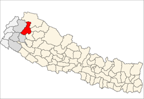 Bajura District i Seti Zone (grå) i Far-Western Development Region (grå + lysegrå)