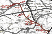 Extract from an historic map of the central London Tube railways, showing the Baker Street and Waterloo Railway highlighted