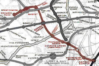 Baker Street and Waterloo Railway - Image: Bakerloo map 1908