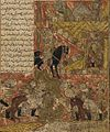 Balami - Tarikhnama - Babak parleys with the Afshin Haydar, the Caliph al-Mu'tasim's general (cropped).jpg