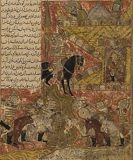 Perso-Turkic miniature showing an armed horseman parlaying with a man within a castle, while several armed riders fight in the bottom