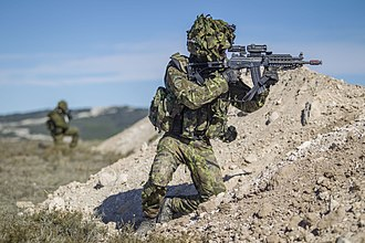 Estonian soldiers during a NATO exercise in 2015 Baltic Battalion Soldiers, Trident Juncture 15 (22200204329).jpg