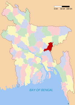 Location of Brahmanbaria in Bangladesh