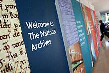 Banners at entrance to The National Archives.jpg