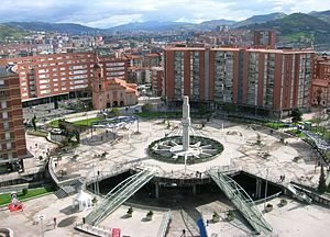 Barakaldo - Plaza de Cruces - Gurutzeta, as seen from the Hospital.