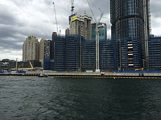 Barangaroo ferry wharf - Pre-construction activities at the site of the wharf at Barangaroo South in April 2015.