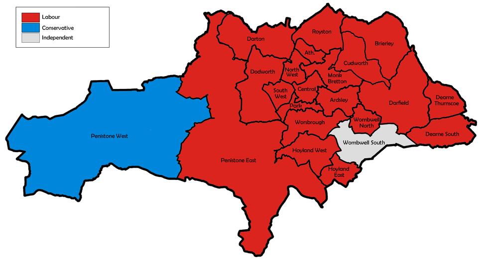 Barnsley UK local election 1988 map