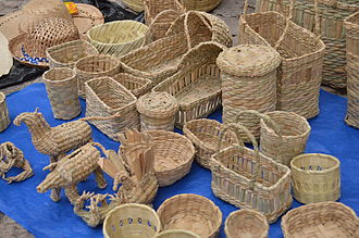 Cuitzeo - Basketry items for sale in the center of Cuitzeo