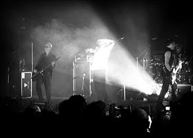 Bauhaus performing live in London in 2006.