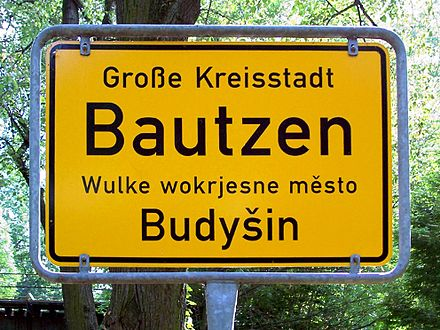 Boundary sign of Bautzen / Budysin in German and Upper Sorbian; many place names in eastern Saxony are derived from Sorbian. Bautzen Ortschild.jpg