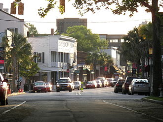 Beaufort, South Carolina - Downtown businesses clustered along Bay Street, adjacent to the Henry Chambers Waterfront Park