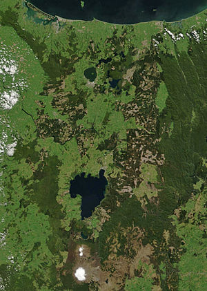 Bay of Plenty - Satellite photo of the Bay of Plenty (top half of image)