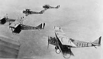 Benbrook Field - Formation of Curtiss JN-4s from Benbrook Field