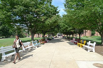 George Mason University - Benches painted by students outside the Fenwick Library