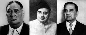 Bengal Legislative Assembly - From left to right: Huq, Nazimuddin and Suhrawardy; the latter two became Prime Ministers of Pakistan; the former was East Bengal's chief minister and East Pakistan's governor