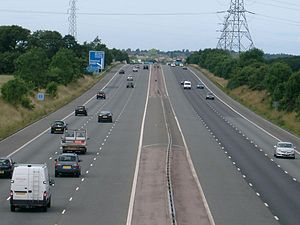 M53 motorway - Looking northwards, midway between junctions 3 and 4 at Storeton