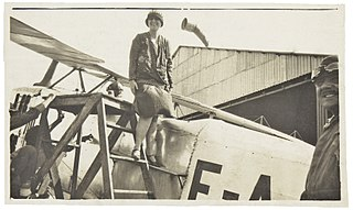 Berta Lutz on the plane from which propaganda pamphlets were cast by female votes