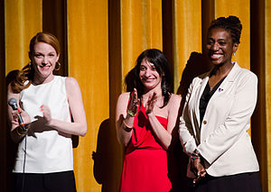 Best Kept Secret (film) - (l-r) Samantha Buck (director), Danielle DiGiacomo (producer), and Janet Mino (primary subject) addressing the audience at the world premiere of Best Kept Secret, at the Boston International Film Festival, April 2013.