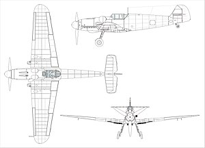 Orthographically projected diagram of the Bf 109G-6.