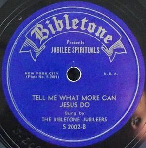 Bibletone Records - 78rpm Bibletone label by The Bibletone Jubileers, catalog S-2000 side B