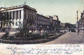 Raczyński Library - Postcard of the library from 1904