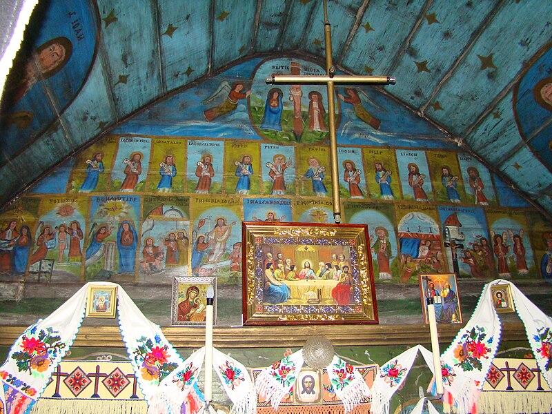 File:Biserica de lemn din poiana Botizii-interioare (11).JPG