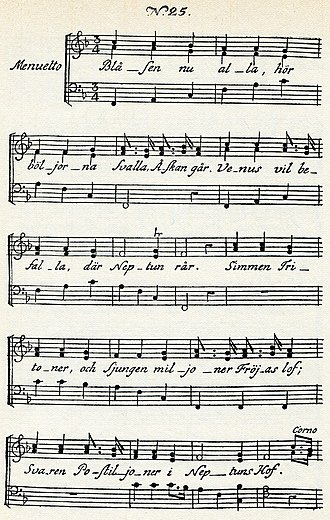 Blåsen nu alla - Music for the Rococo-themed Blåsen nu alla, one of his 1790 Fredman's Epistles. The first page names Venus, Neptune, Tritons, and Fröja, the Nordic goddess of love