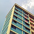 Block of Housing and Development Board flats in Singapore decorated with national flags - 20090808.jpg