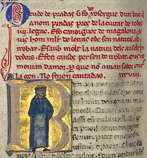Daude de Pradas - A picture of Daude accompanies his vida in the manuscript. He is portrayed with a tonsure.
