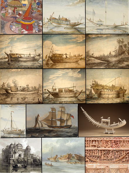 Various types of watercraft used in Bengali history, including the budgerow, sampan, dinghy, and sail ship among others Boat and ship heritage of Bengal.png
