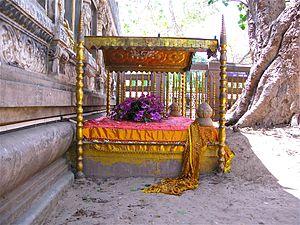 Bodhi Tree - The Diamond throne or Vajrashila, where the Buddha sat under the Bodhi Tree in Bodh Gaya