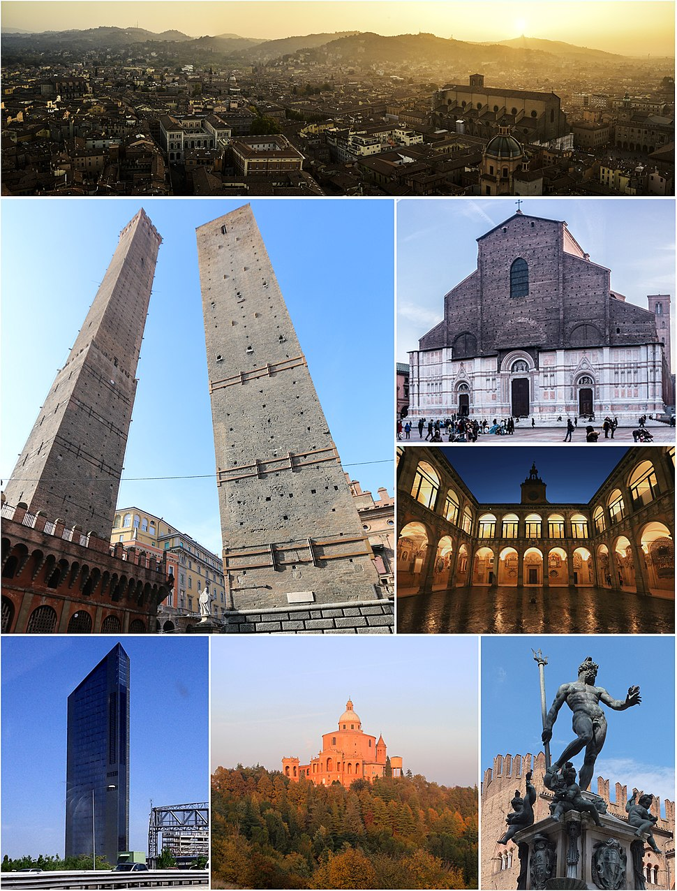 Clockwise from top: panorama of Bologna and the surrounding hills, San Petronio Basilica, University of Bologna, Fountain of Neptune, Sanctuary of the Madonna di San Luca, Unipol Tower and the Two Towers