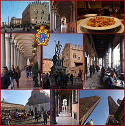 A collage of the city, showing Fountain of Neptune, Piazza Maggiore, Basilica of San Petronio, Two towers (Due Torri), Tagliatelle al ragù bolognese (dish of Bologna origin), and endless city arcades typical for Bologna
