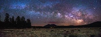 Starry sky over prairie