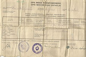 Poles in Bosnia and Herzegovina - A document listing assets renounced by a Pole during repatriation