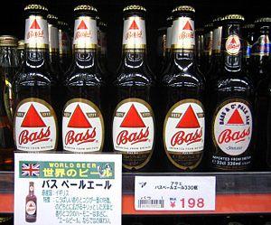 Bass Brewery - Bottles of Bass beer for sale at a liquor store in Iizaka, Fukushima, Japan