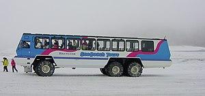 Snow coach - Foremost Terra Bus, at Athabasca Glacier, Canada.