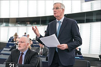 Michel Barnier - Barnier intervening in the European Parliament vis-à-vis the latest Brexit developments in January 2019